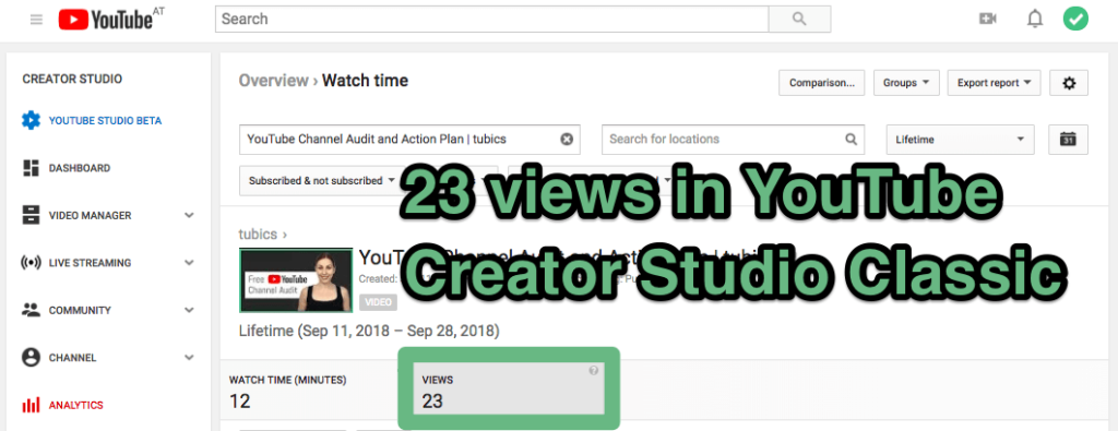 различные просмотры YouTube в аналитике YouTube