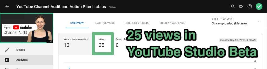 количество просмотров YouTube в студии YouTube