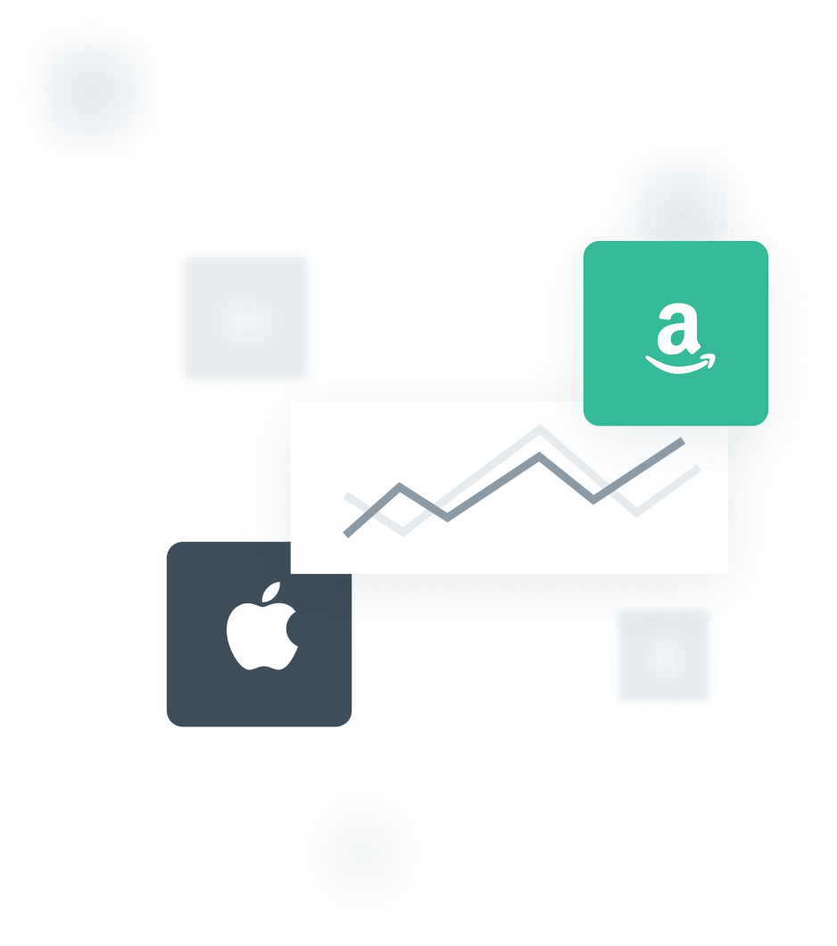 An illustration with an upward trending line graph surrounded by an Amazon logo and an Apple logo