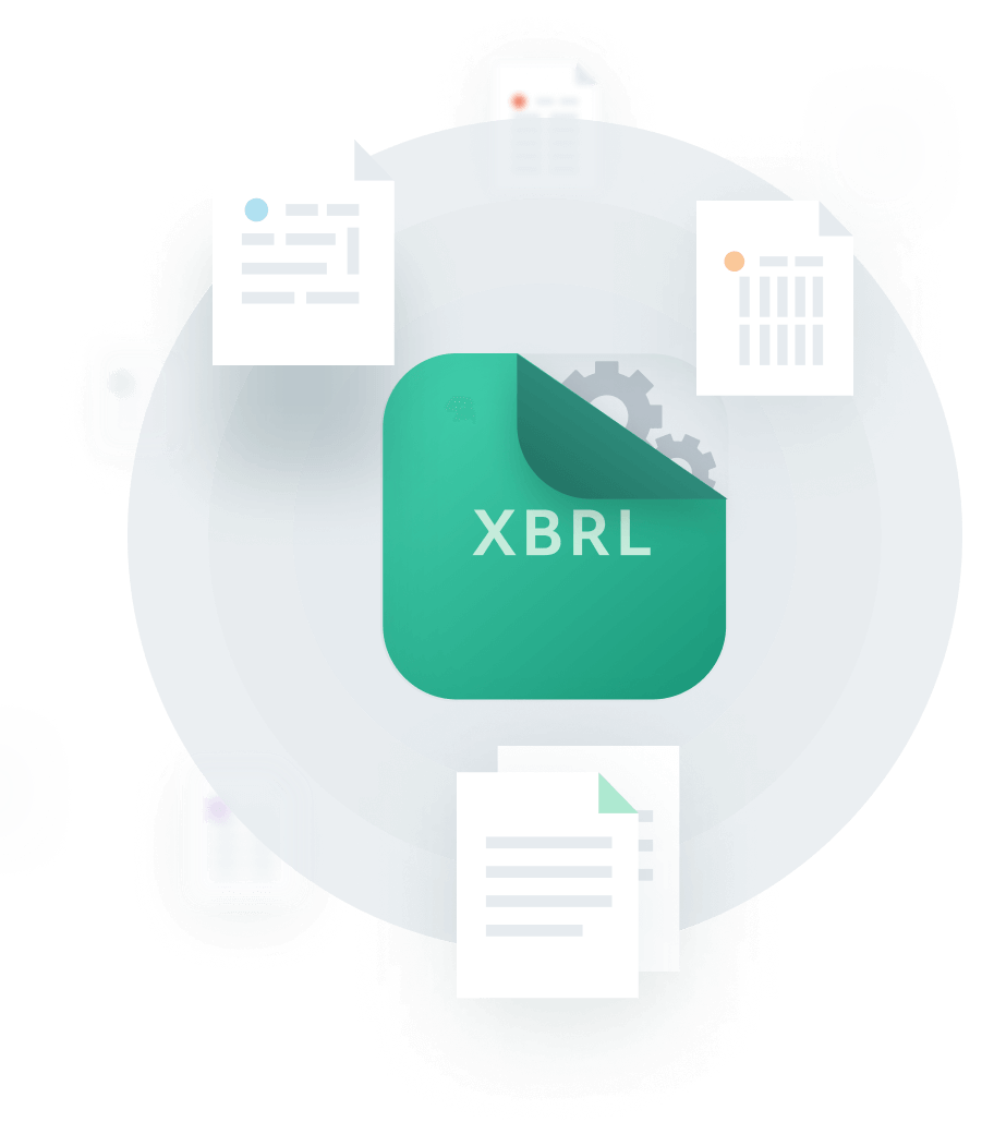 An illustration with an XBRL graphic surrounded by seven document graphics