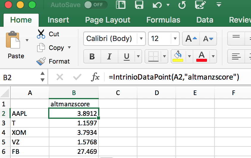 Altman Z Score in Excel