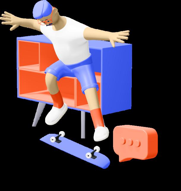 Personnage qui fait du skate. Il illustre cette page web.