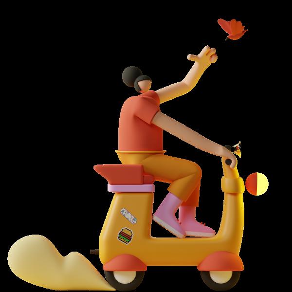 Personnage sur un scooter.