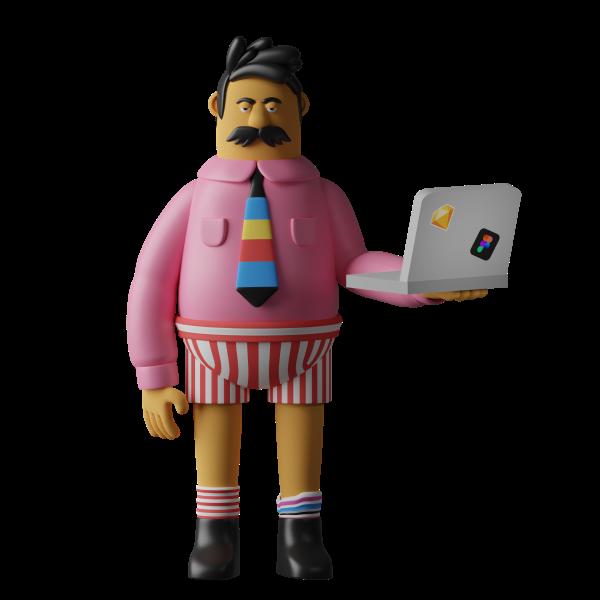 Personnage tenant un ordinateur.