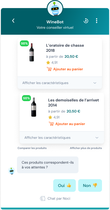 Capture d'écran du chatbot innovant Noci.