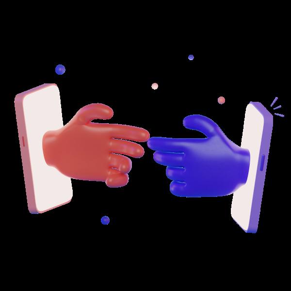 2 mains qui se touchent.