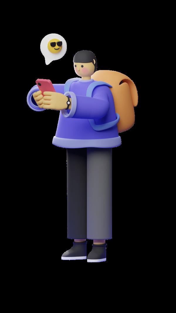 Personnage tenant un téléphone.