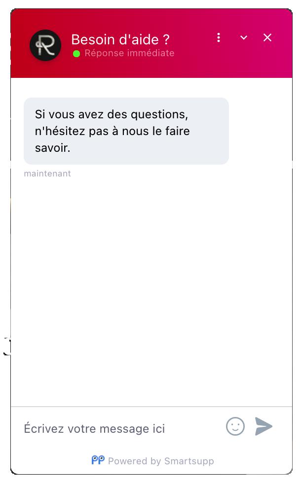 Capture d'écran d'un chatbot Smartsupp.