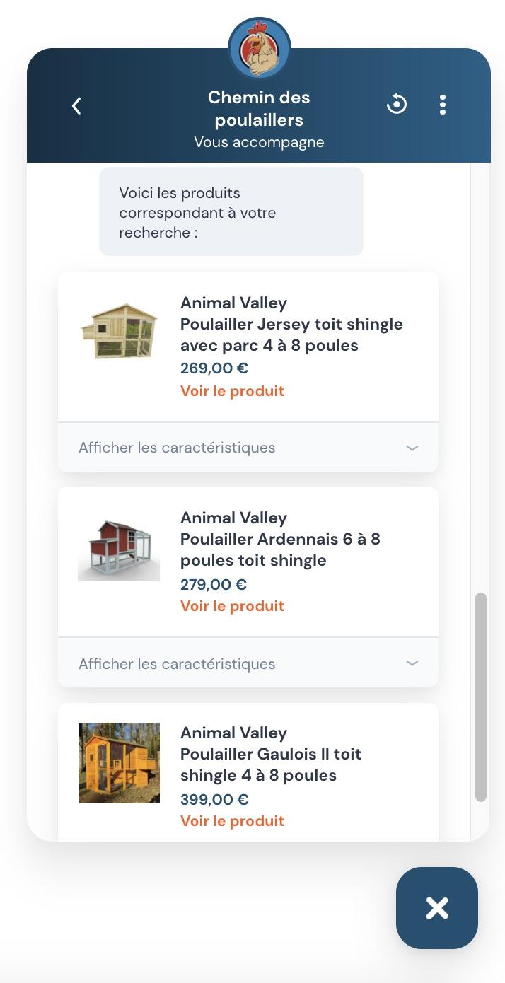 Capture d'écran du chatbot Chemin des Poulaillers