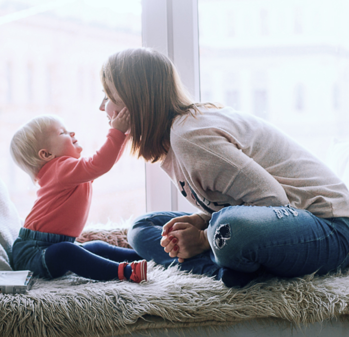 Mother and child in home