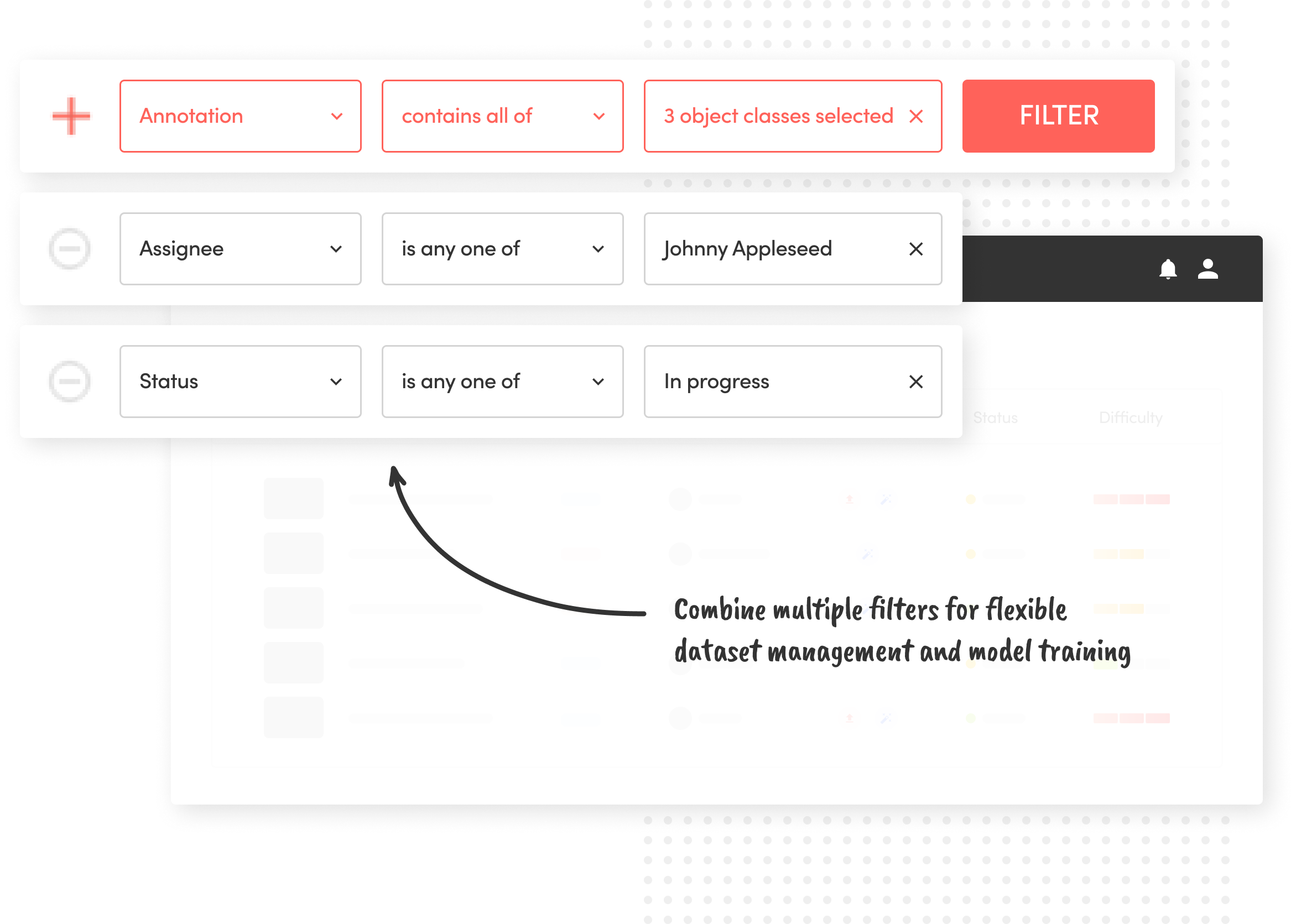 Filter&Search: Combine multiple filters for flexible dataset management and model training
