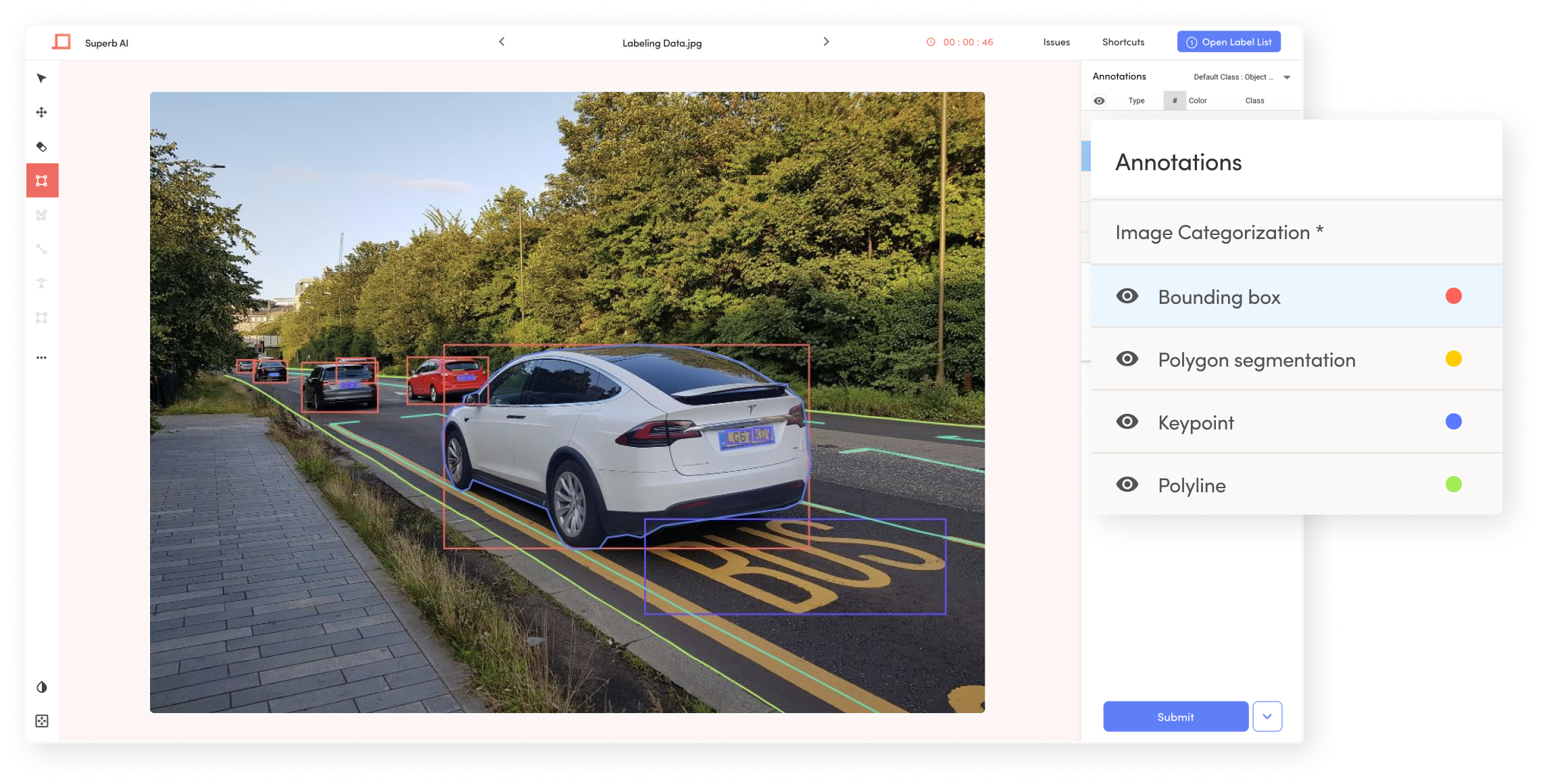 Labeling self-driving image with powerful labeling tool