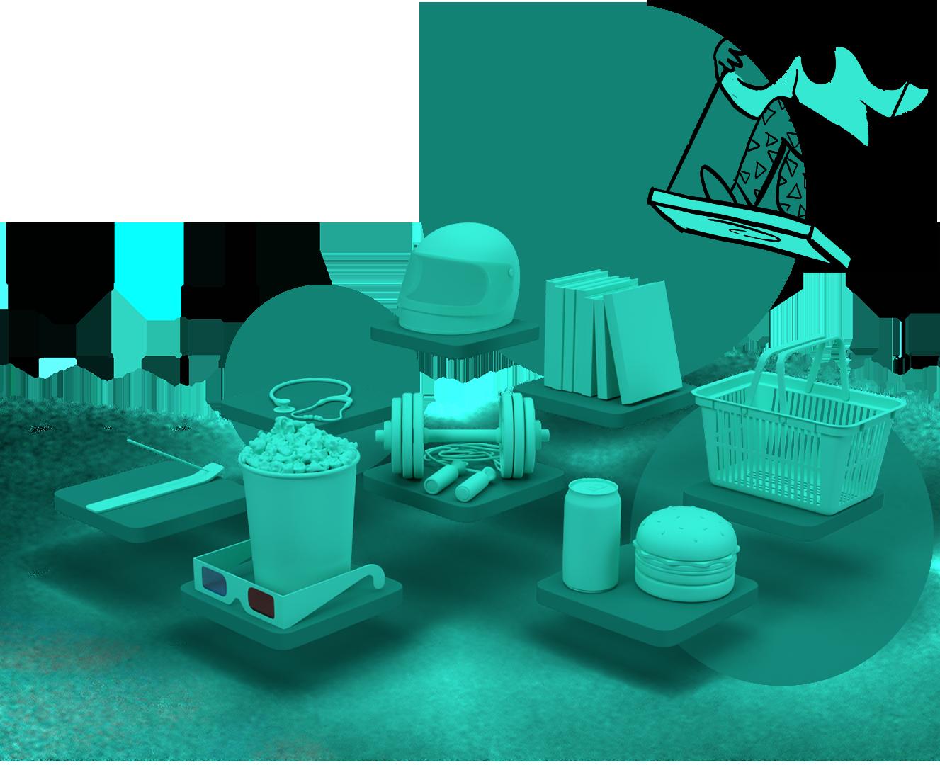 Render 3D de símbolos de diferentes benefícios flutuando sobre plataformas.