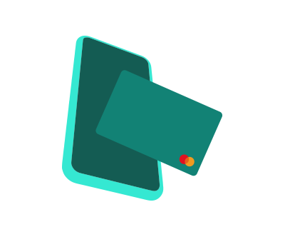 An icon of a smartphone with a credit card.