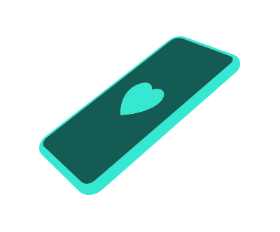 An icon showing a smartphone with a heart.