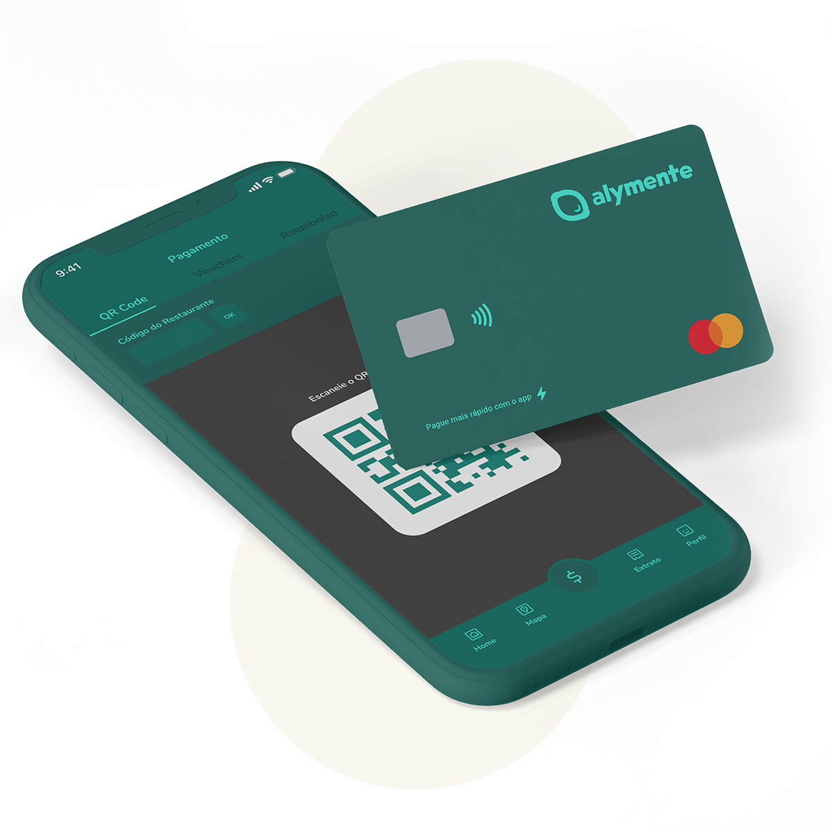 Alymente app in payment mode and a floating Alymente card.