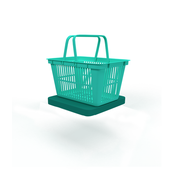A green floating base with a shopping basket.
