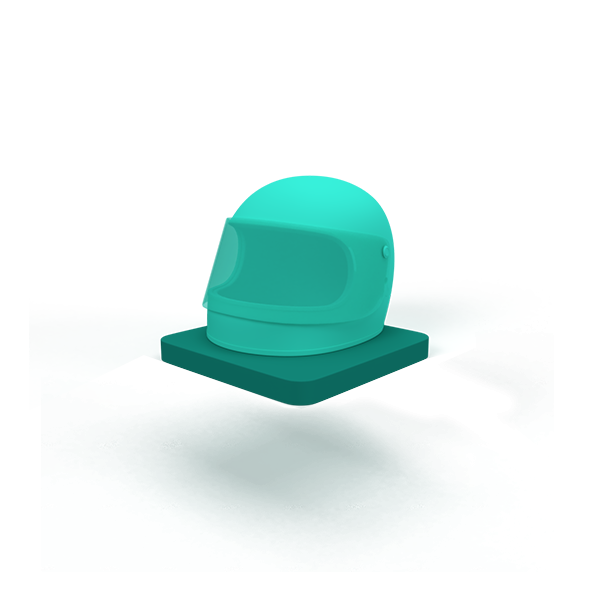 A green floating base with a helmet.
