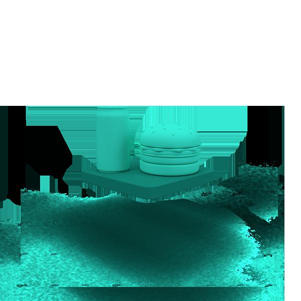 A green floating base with a hamburger.