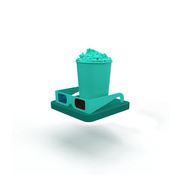 A green floating base with popcorn and 3D glasses..
