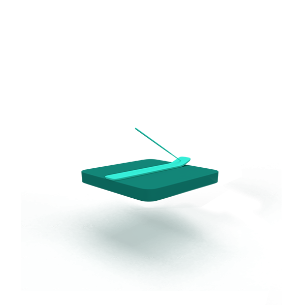 A green floating base with a incense stick.