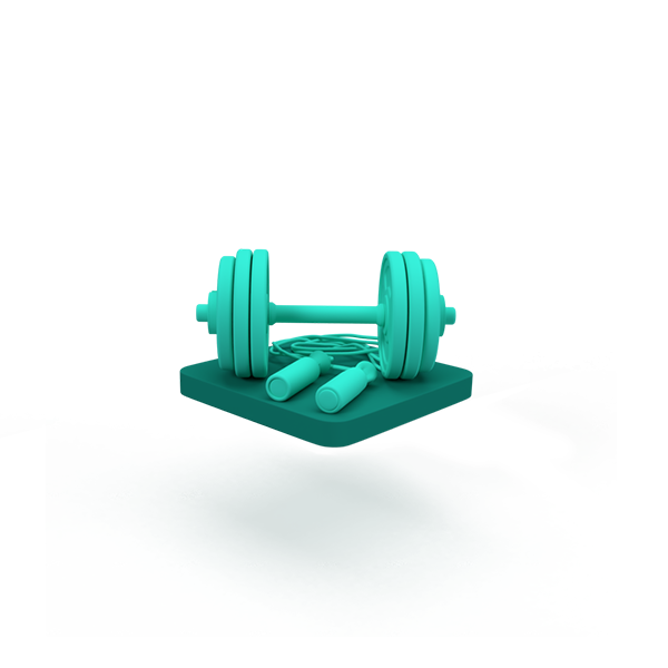 A green floating base with dumbbells.