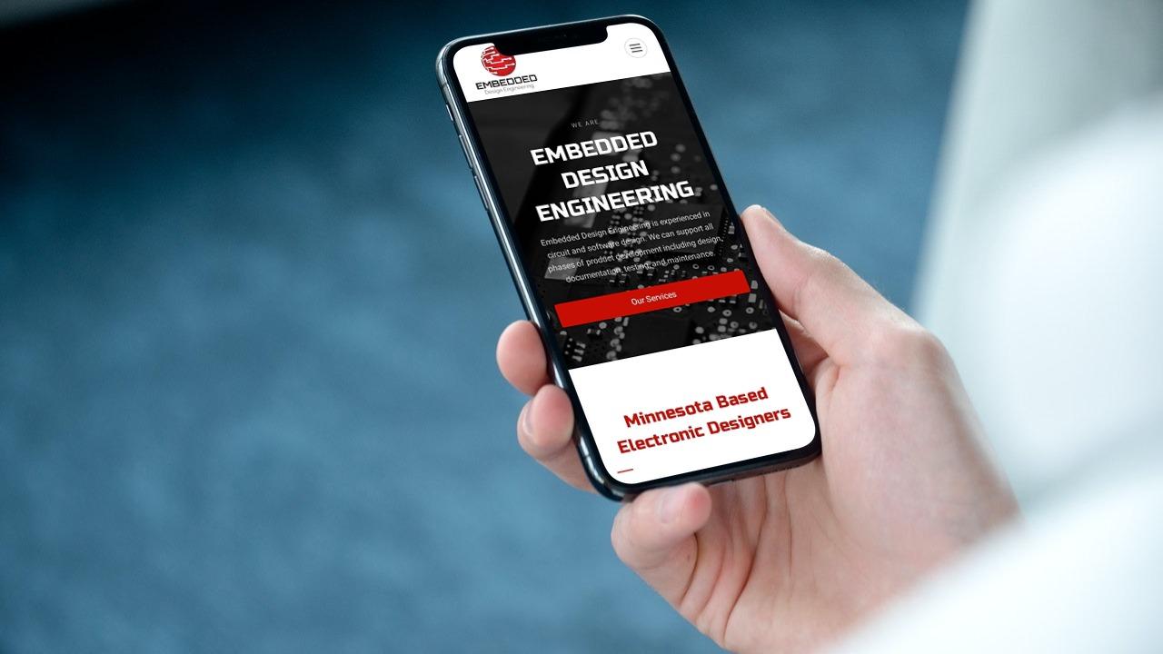 embedded design engineering - website design preview on mobile phone