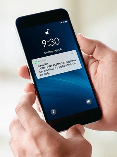 Text message alert of Compliant Soberlink test