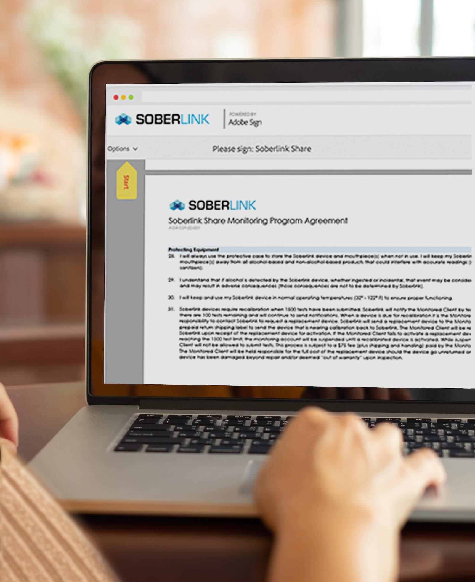 Soberlink Monitoring Program Agreement