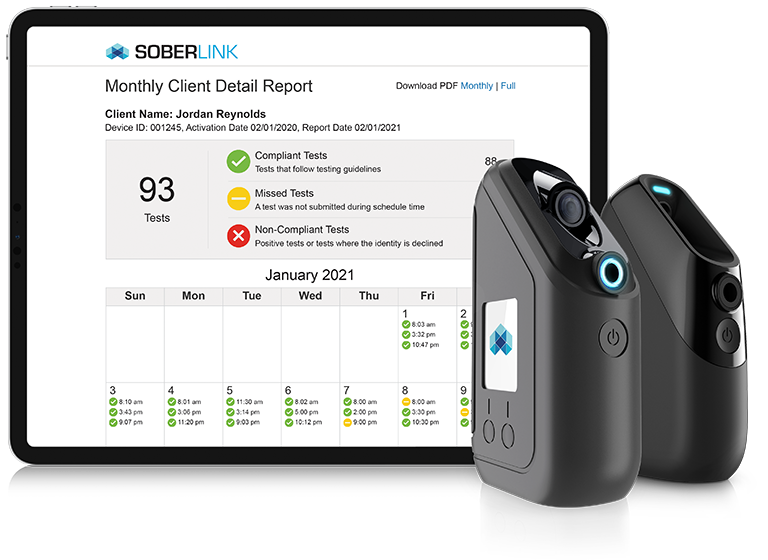 Both Soberlink Devices with Monthly Client Detail Report (Level 1)