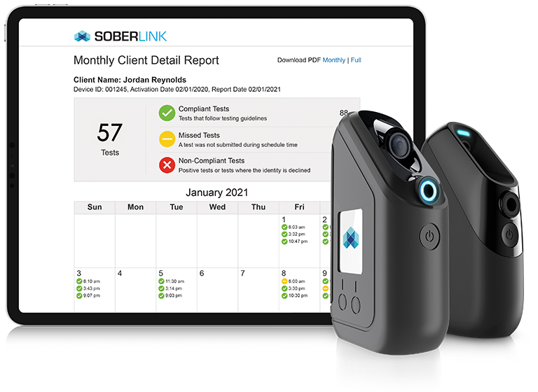 Both Soberlink Devices with Monthly Client Detail Report