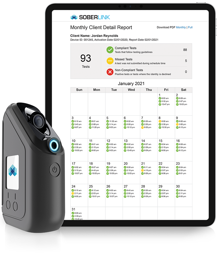 Monthly Client Detail Report with Soberlink Cellular Device