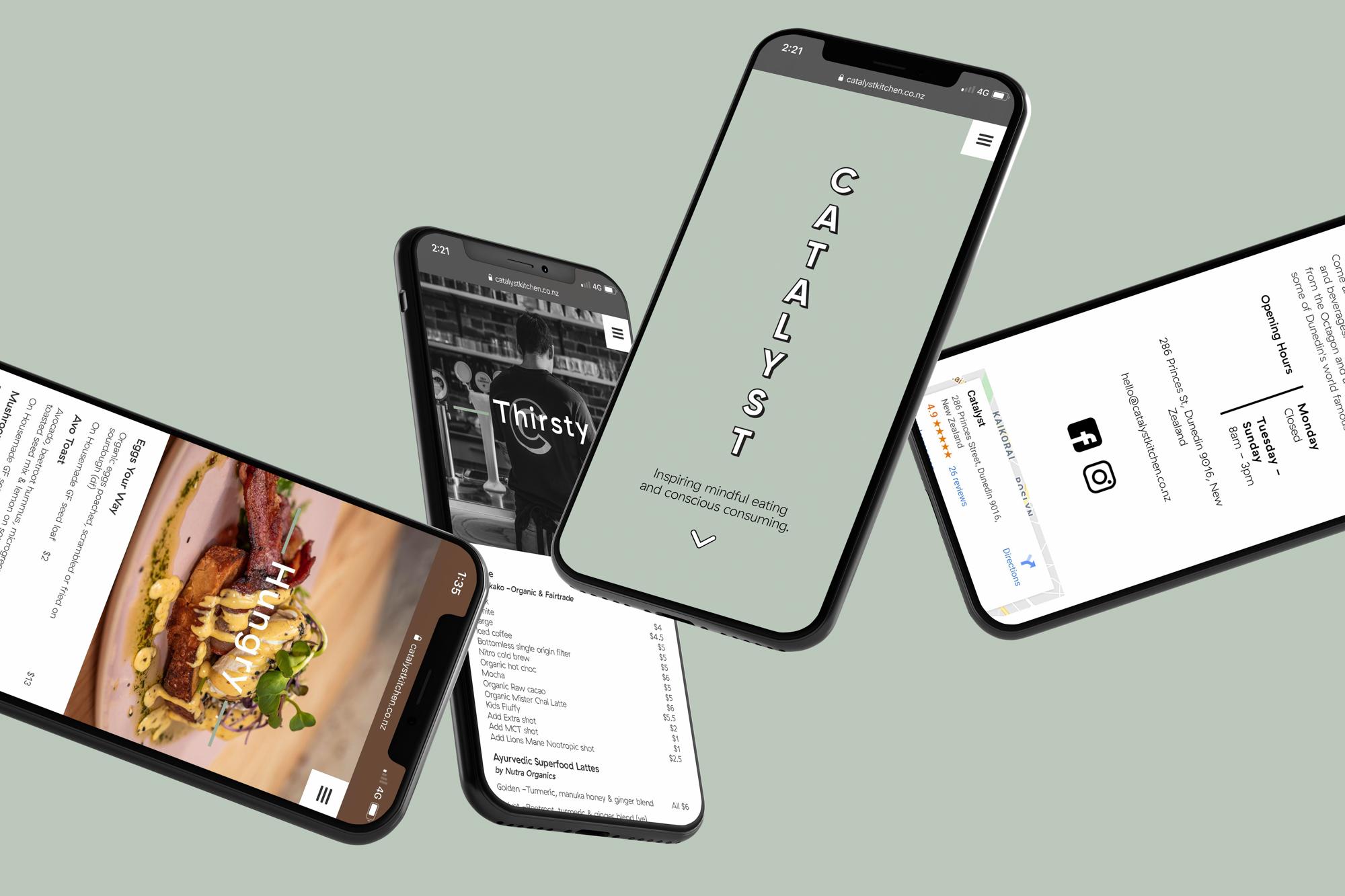 Catalyst website on 4 iPhones