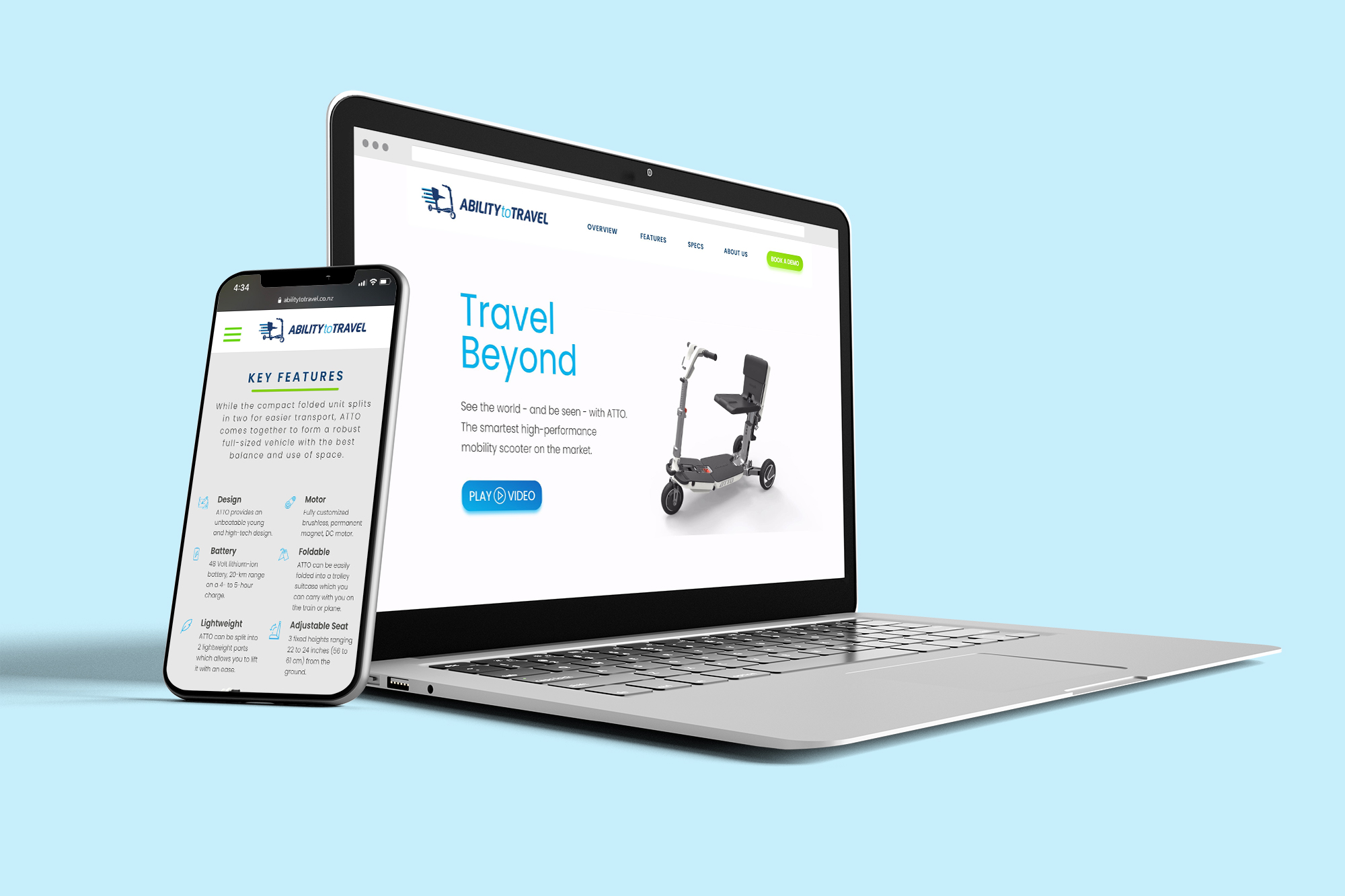 Ability to Travel - Website on laptop and mobile