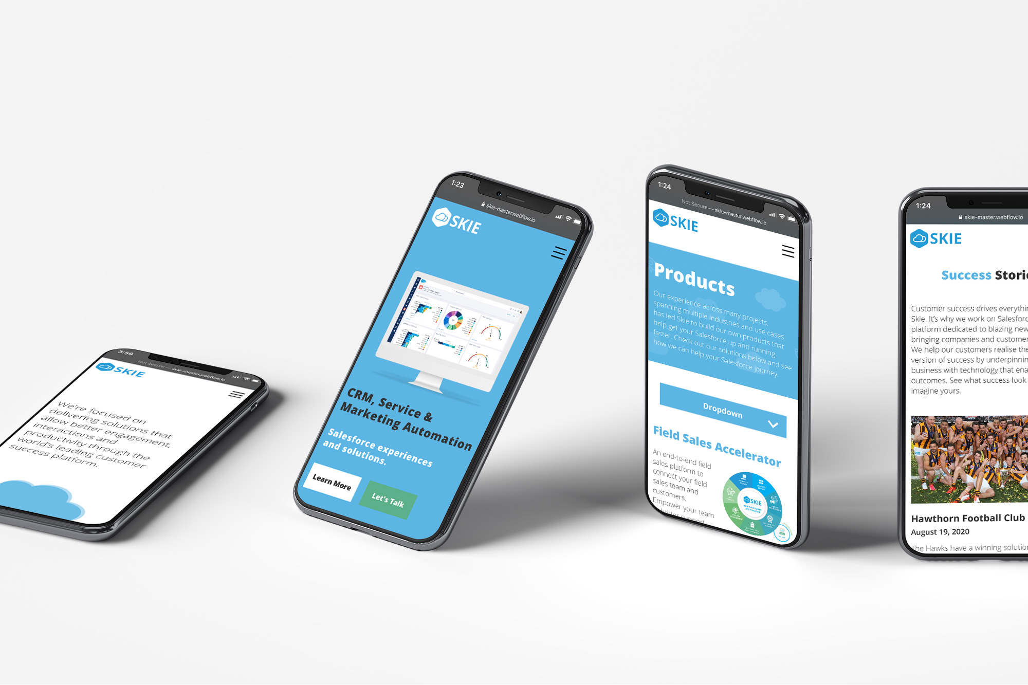 Skie website on four mobiles.