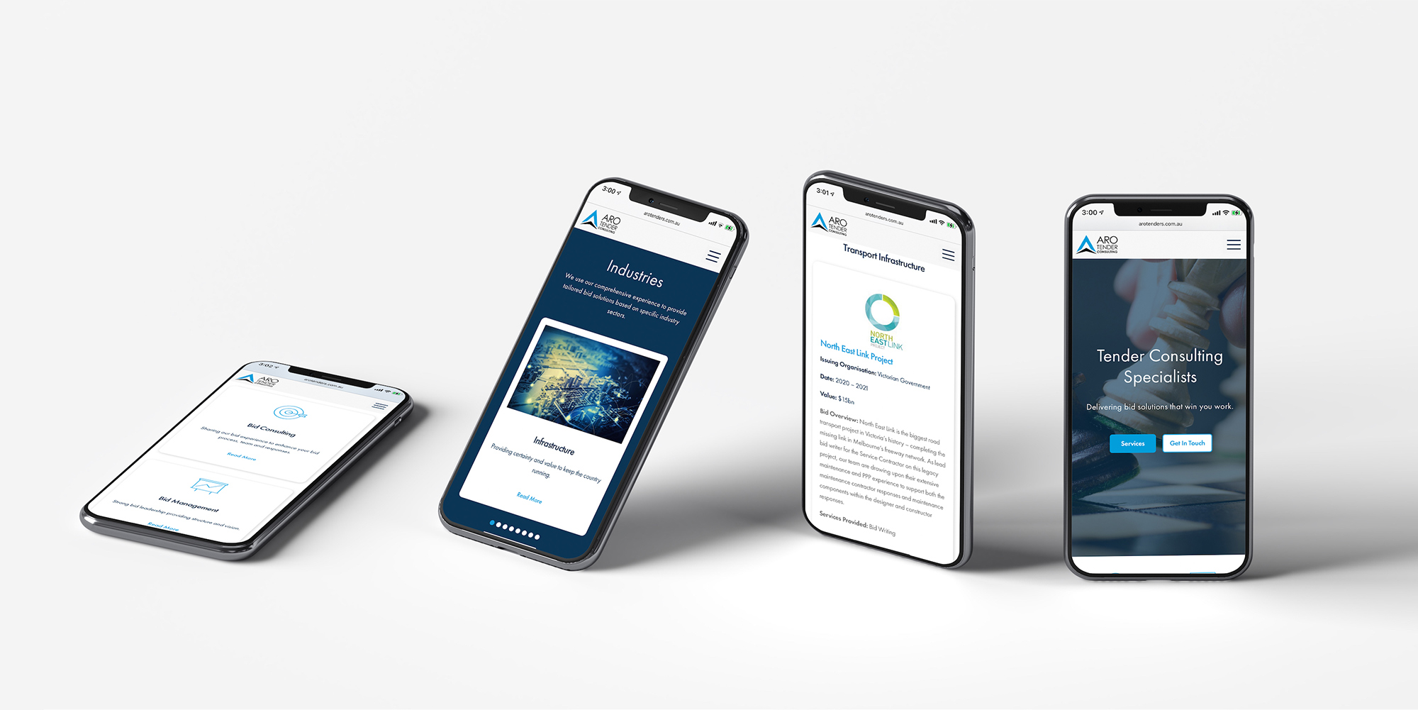 ARO Tender Consulting Website on Mobile