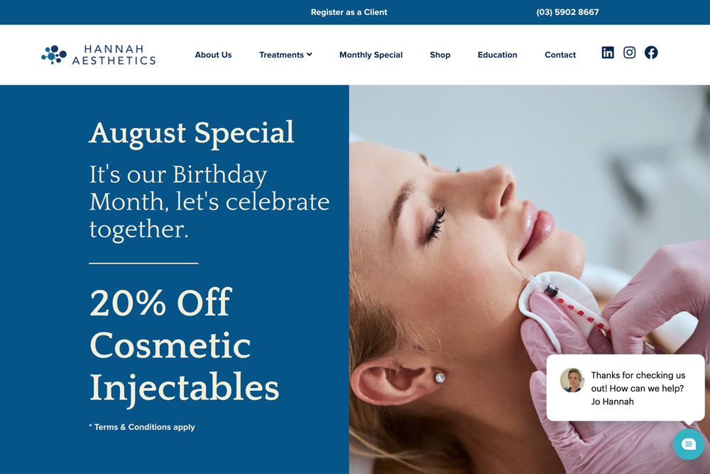 Hannah Aesthetics Monthly Specials Page