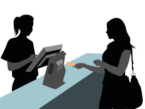 Modern architecture illustration. Woman shopping.