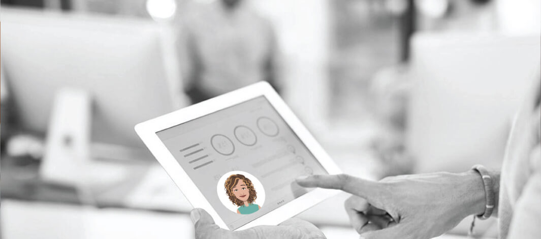 An employee scrolling through a tablet screen that has an icon of an intelligent assistant on it