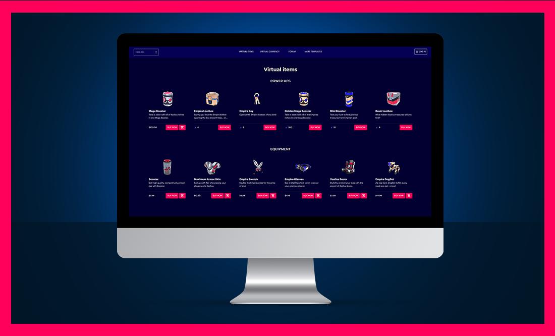 Virtual item web store screenshot