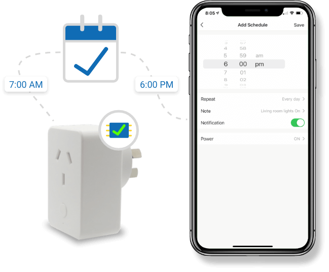 Smart plug with energy monitoring local schedule