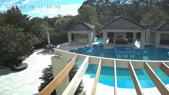 Outdoor pool backyard