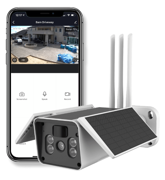 Smart Outdoor Solar Battery Camera With Phone UI