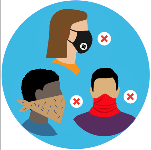 Illustrations of ineffective face masks, including a mask with a valve, a bandanna and a neck gaiter