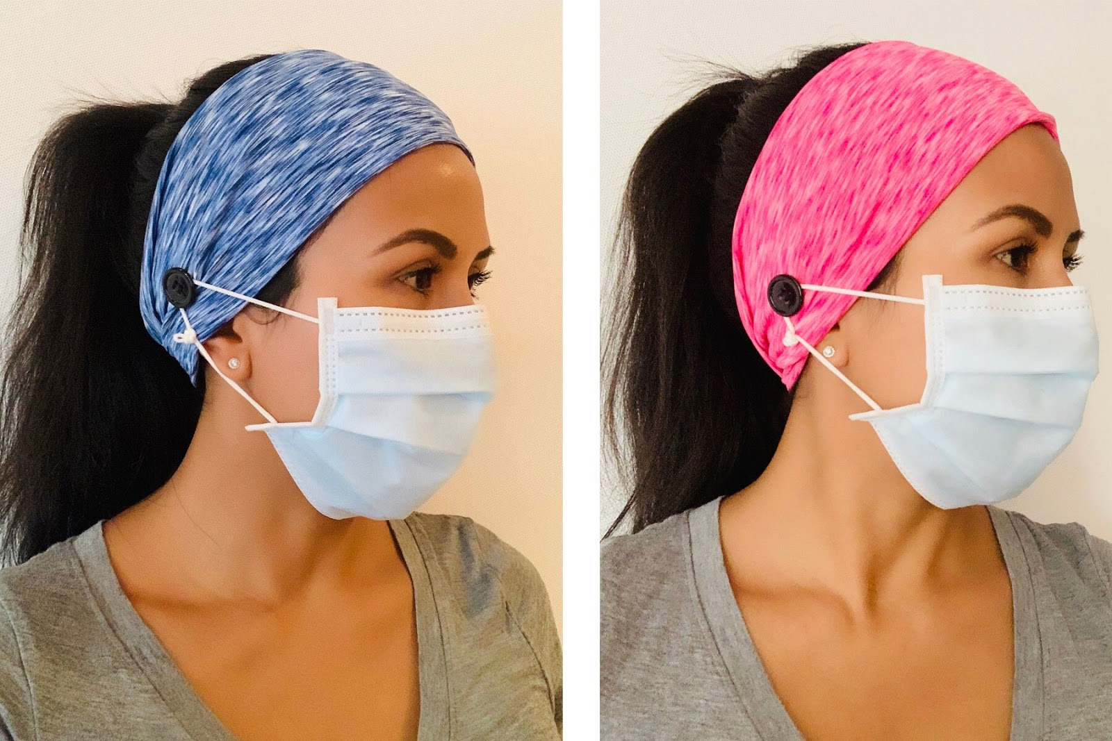 Head bands with face mask loops