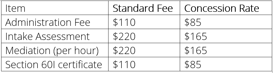 International Family Mediation Fee Schedule