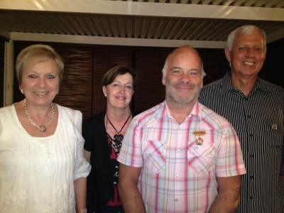 Thore receiving Eshowe Municipality's Medal of Honor in 2013 - Here with (to the right) Governor Stan Larkan, council member Stella Schoeman (behind) and the Governor's wife, Poppie Larkan (to the left)
