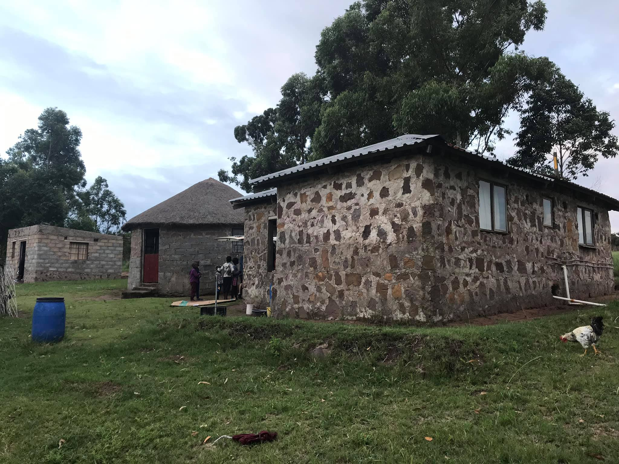 Children of Zululand contributed in building two separete Khuzwayo houses + a kitchen building