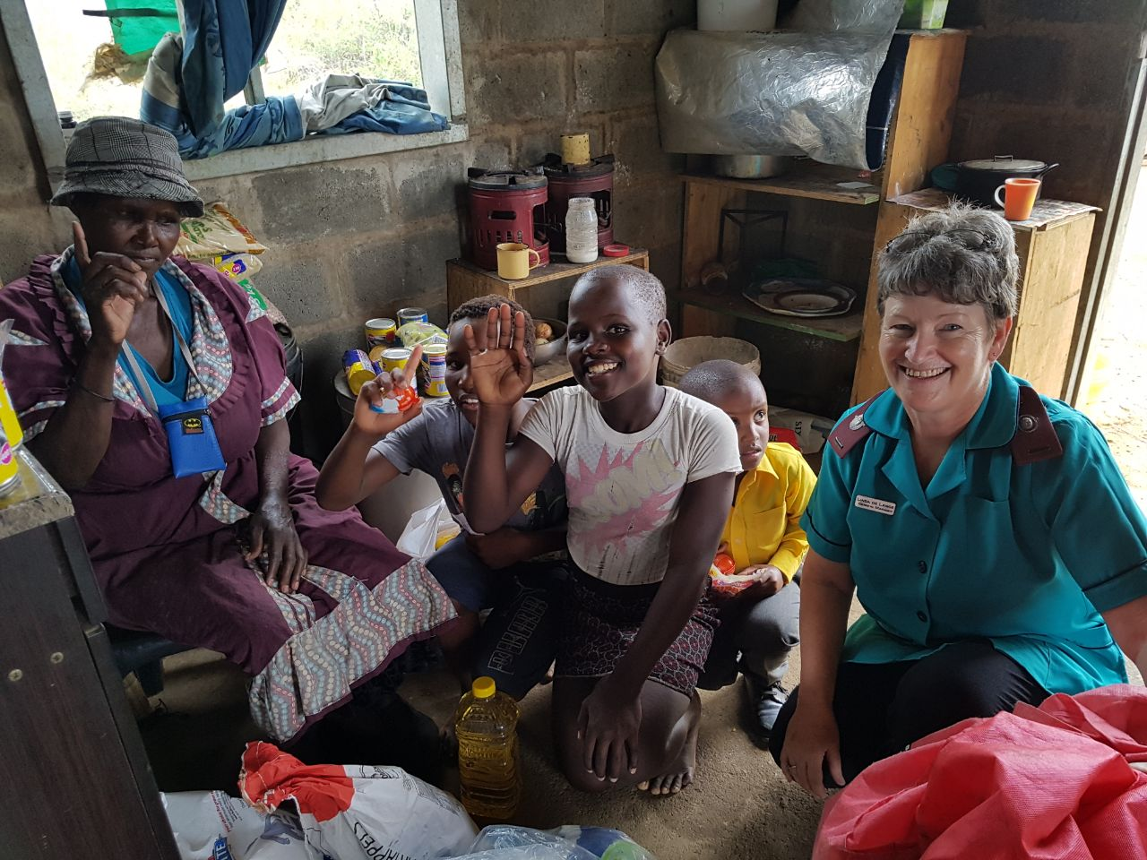Linda visiting the Sipho family