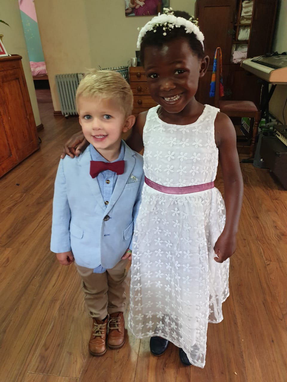 """Brother and sister Seth and Shiloh with """"new"""" outfits from Children of Zululand"""